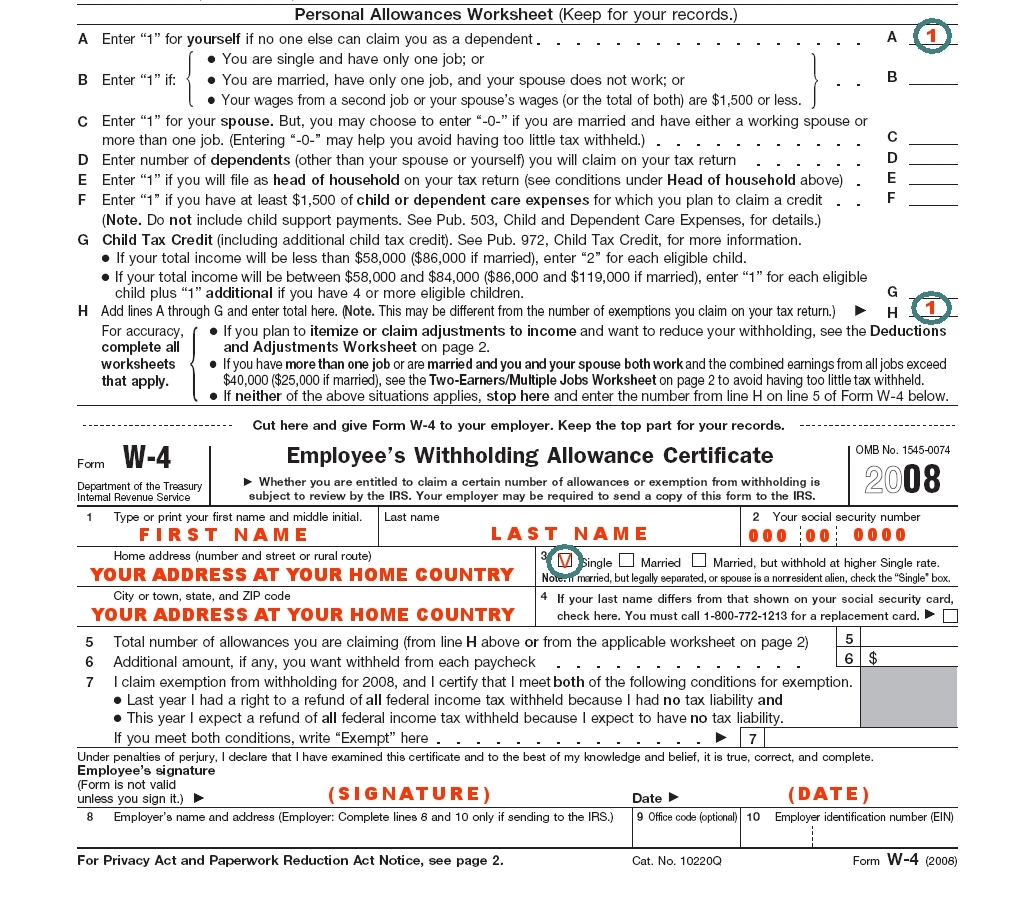 how to fill out w-4 for a single person - mkrd
