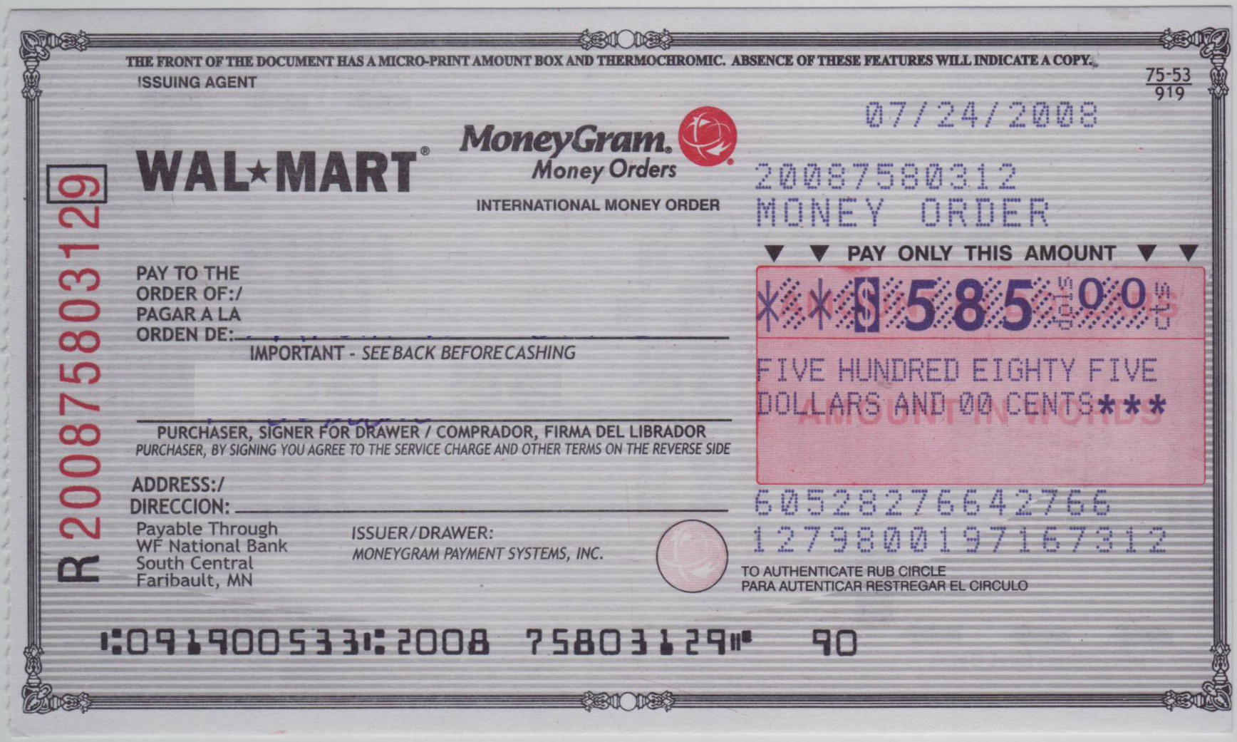 How To Fill Out A Moneygram Money Order